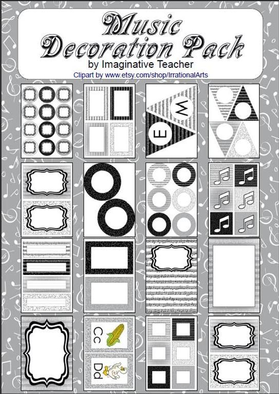 Decoration Pack - Music theme - 75 pages. Creating a gorgeous looking classroom whilst sticking with your theme is now easier than ever! This Decoration Pack is a combination of various sized labels and pages to compliment your theme without going 'over the top'. Everything you need to decorate is included and versatile enough to be used in a multitude of ways. We've purposely not named anything so you can use it exactly how YOU want.