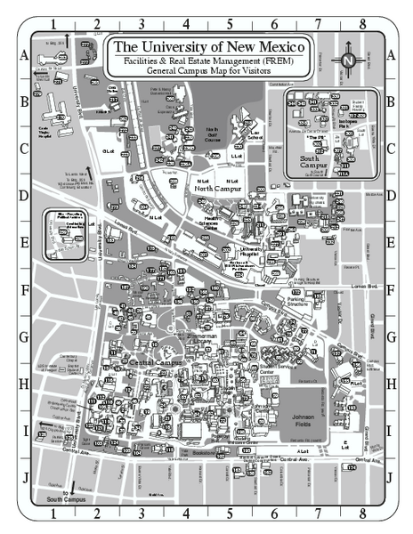 University of New Mexico  Main Campus Map  NEW MEXICO