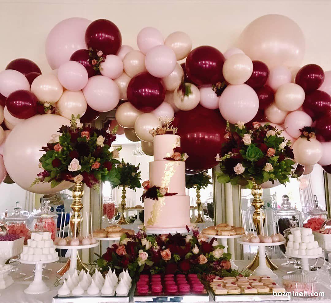 دکوراسیون و بادکنک آرایی جشن تولد بزرگسال یا نامزدی با تم صورتی قرمز همراه با گل آ Burgundy Baby Shower Birthday Party Decorations For Adults Baby Shower Cakes