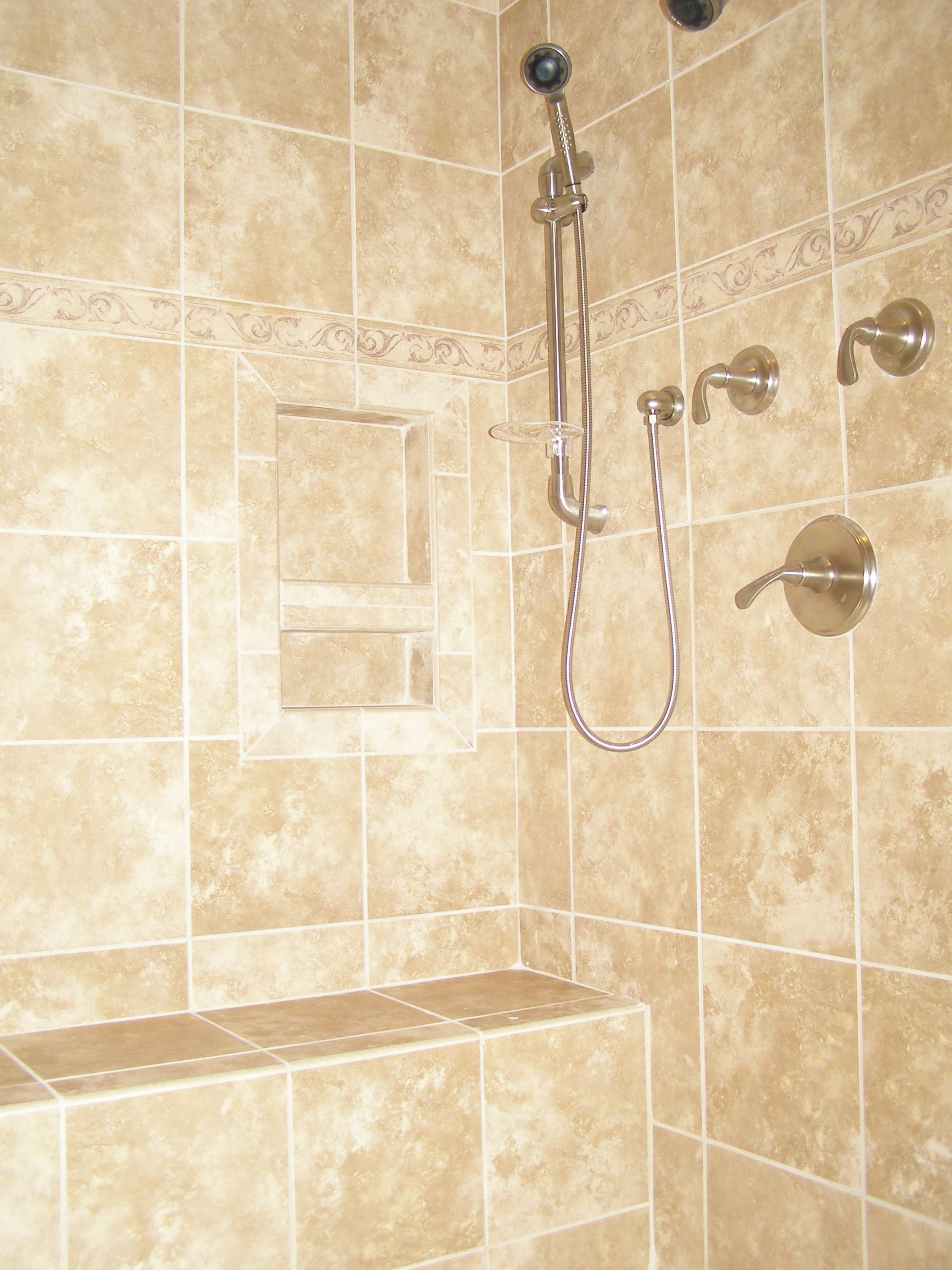 Ceramic tile showers without doors ceramic tile shower for Ceramic tile bathroom ideas pictures