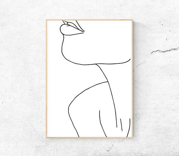 Weiß, abstraktes weibliches Gesicht, Hals, Körper bedruckbare Kunst, minimalistischer Druck, moderne