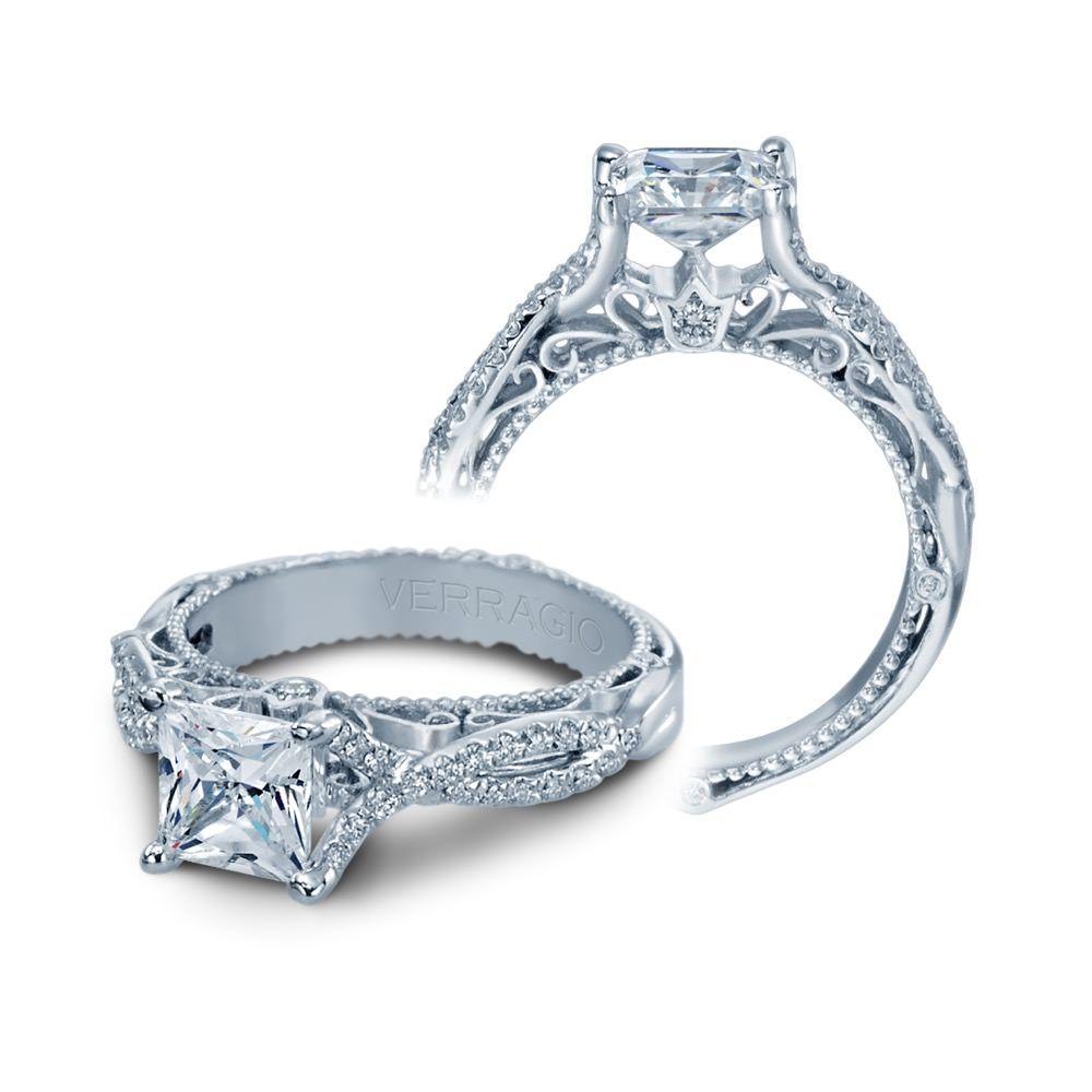 Verragio vintage style princess cut diamond engagement ring bc