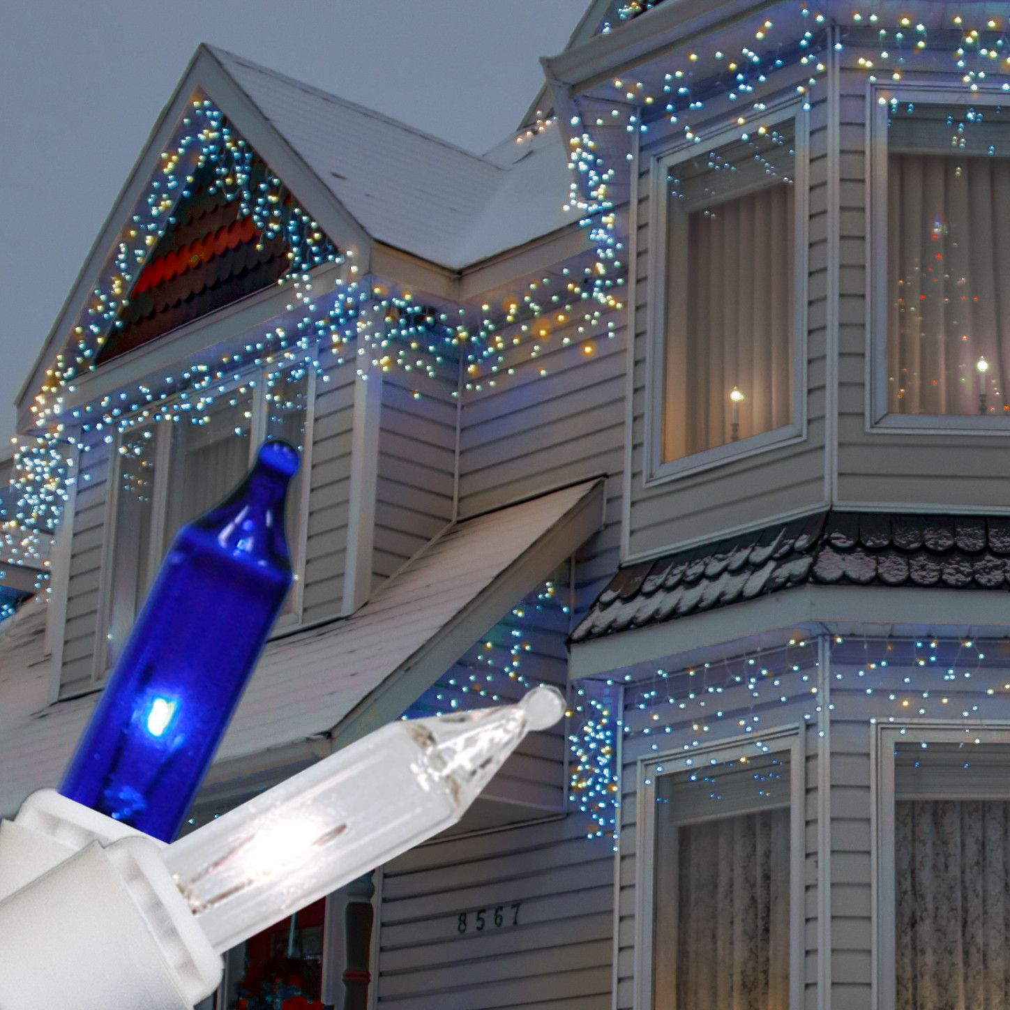 Clear Blue Icicle Lights White Wire