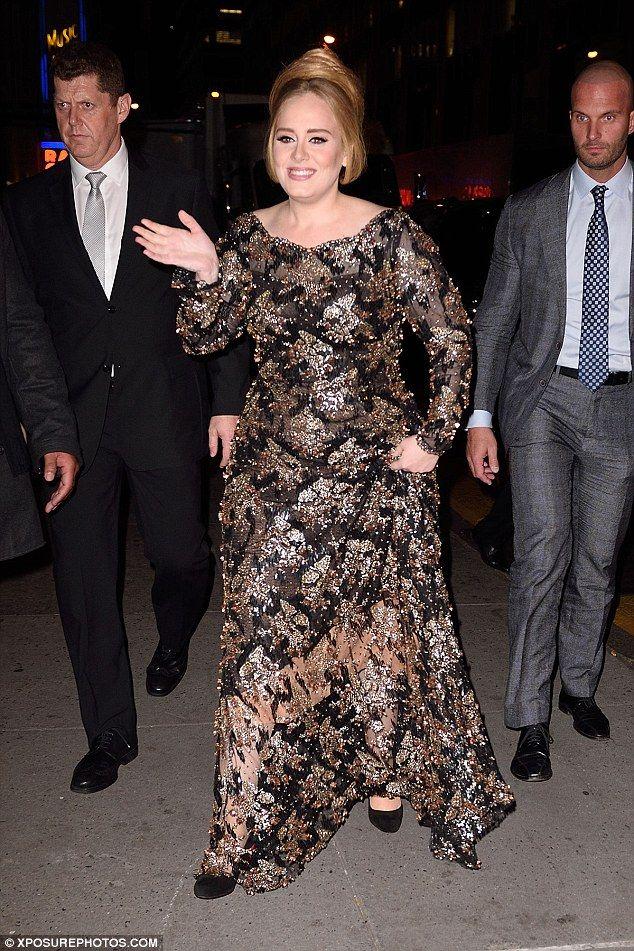 Beaming Adele Highlights Her Slimmer Figure In Embellished Gown