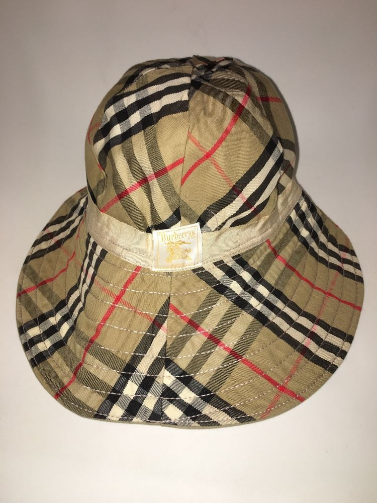 410154cb411 VINTAGE Womens Burberrys  Burberry Tan Nova Check Bucket Hat  Burberry   Bucket
