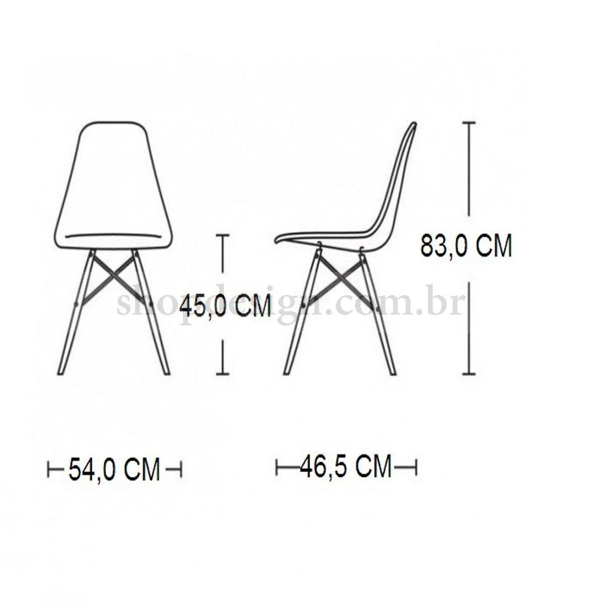 Conjunto Eames Mesa e 4 cadeiras Eiffel Sem Braço Branca