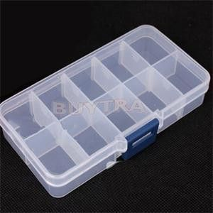 10 Grid Compartments Plastic Transparent Jewel Bead Case Cover Box Storage Container Adjustable Organizer Plastic Box Storage Covered Boxes Craft Organization