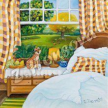 Obrazy - Postýlka s kočičkou u okna - 147445