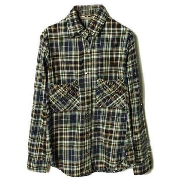 Boyfriend Checked Shirt with Studded Pockets ($53) ❤ liked on Polyvore featuring tops, shirts, flannels, chicnova, checkered shirt, studded top, flannel shirts, long sleeve flannel shirts and boyfriend shirt