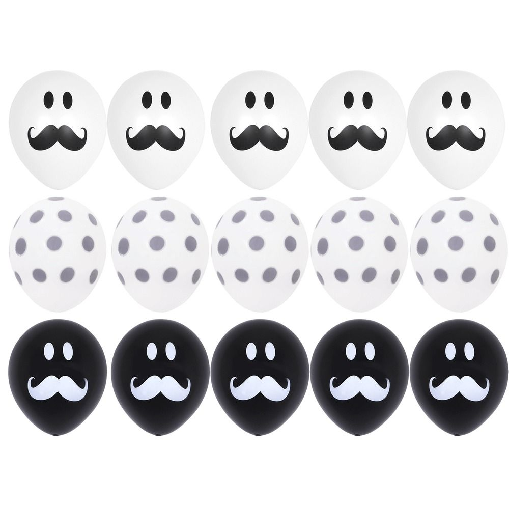 15X White Black Mustache Gray Polka Dots Balloons Baby Shower ...