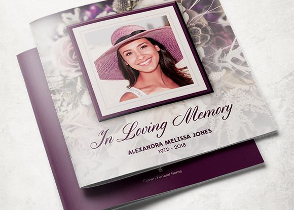 Purple Rose Funeral Program Template  Brochure Template