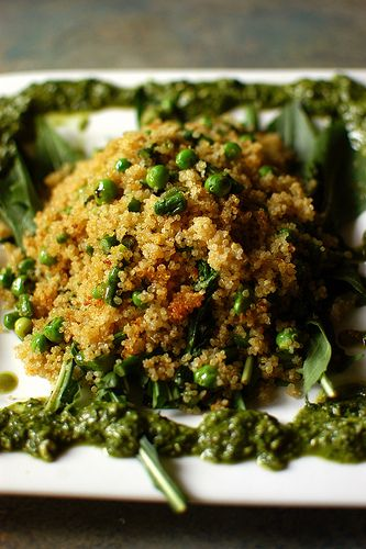 Quinoa with Spring Vegetables and Walnut-Kale Pesto (w/easy dairy subs)