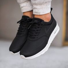 reputable site ea6b6 e920c Nike Air Max Thea Black Premium Leather Sneakers •The Nike Air Max Thea  Womens Shoe is equipped with premium lightweight cushioning and a sleek, ...