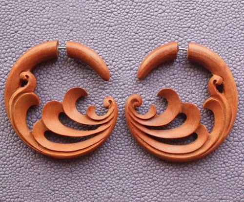 TIDAL  Natural Tan Saba Wood  Hand Carved Fake by SanskritDream, $23.00