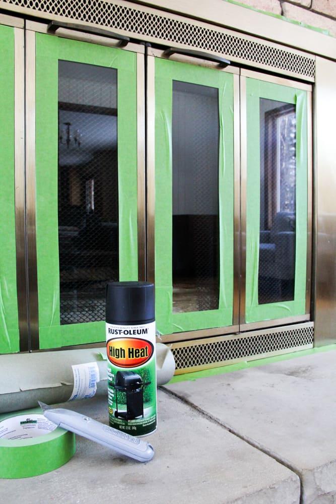 How To Spray Paint A Brass Fireplace Fireplace Doors Brass