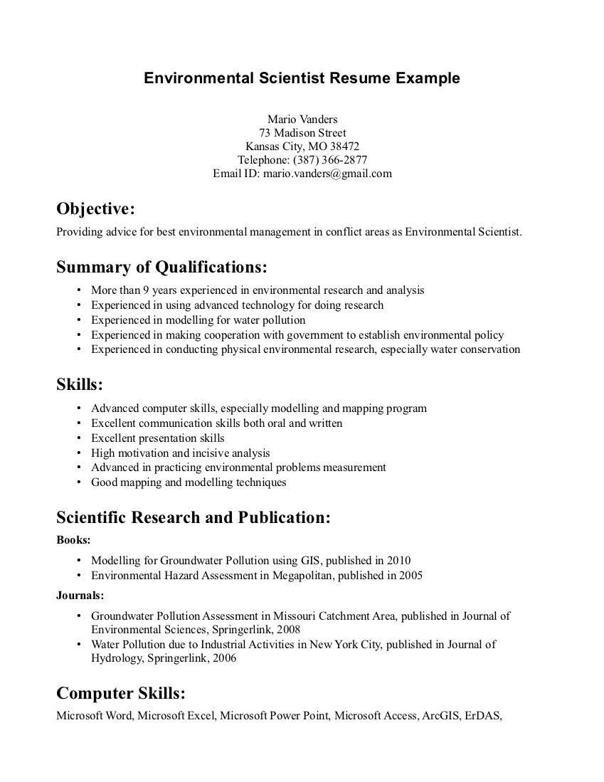 environmental science resume sample httpwwwresumecareerinfoenvironmental - Sample Wildlife Biologist Resume