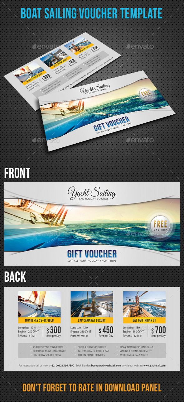 Yacht Sailing Boat Gift Voucher Template #design Download   - gift voucher template
