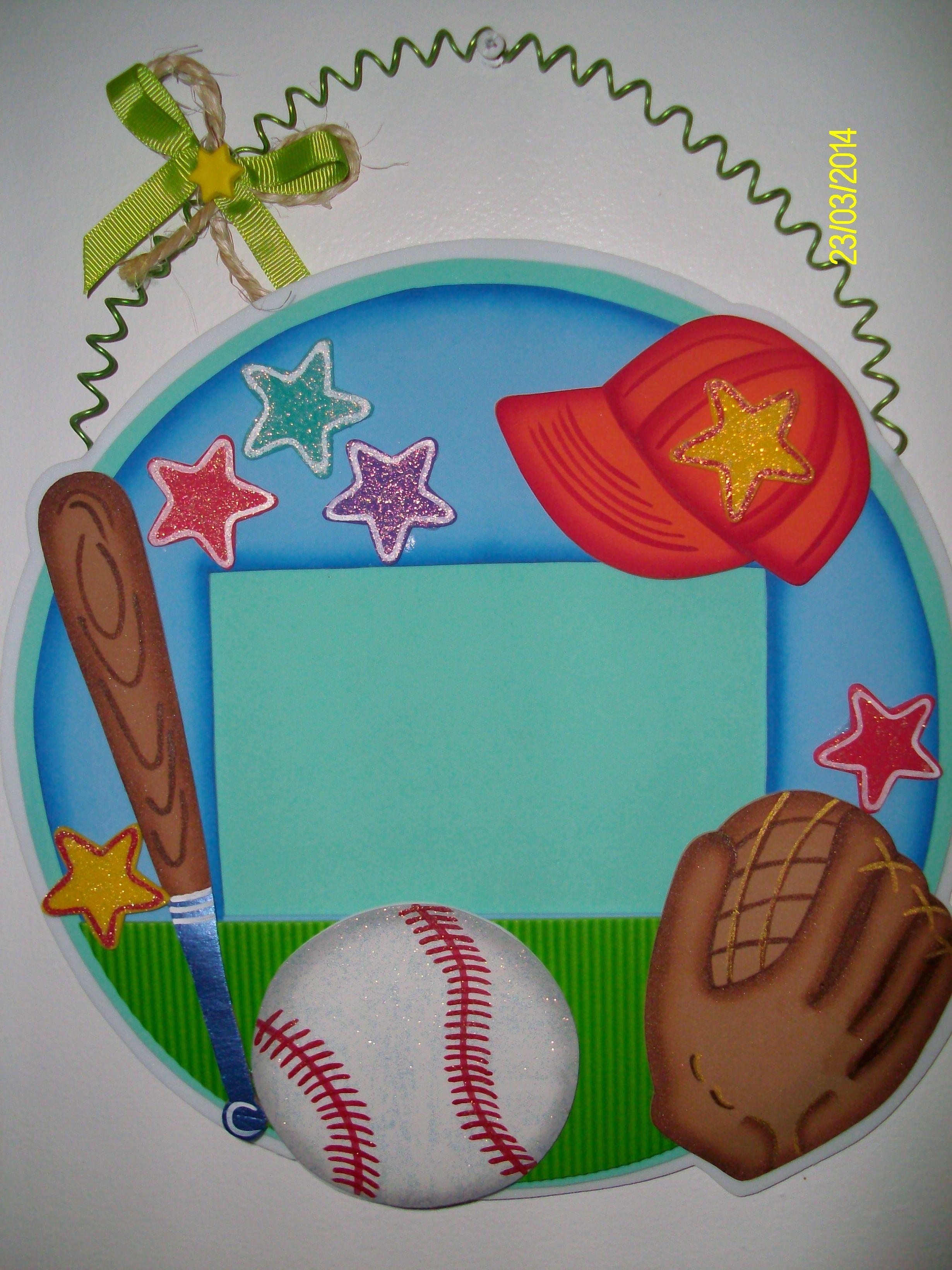 Portaretratos colgante beisbol manualidades con goma eva - Manualidades en familia ...