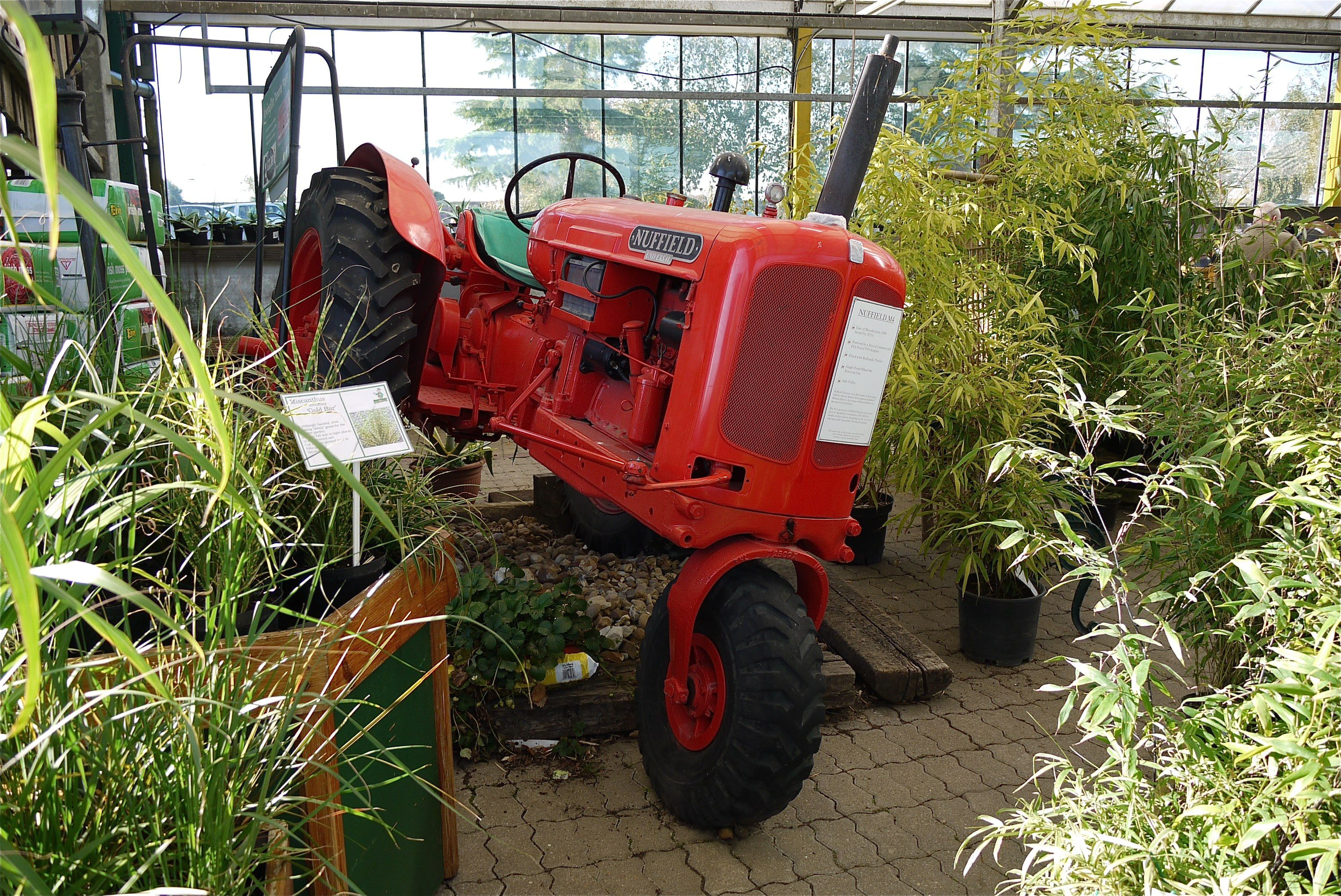 Garden ornament. Nuffield M4 Universal tractor at Baytrees Garden Centre - Flickr - mick - Lumix.jpg