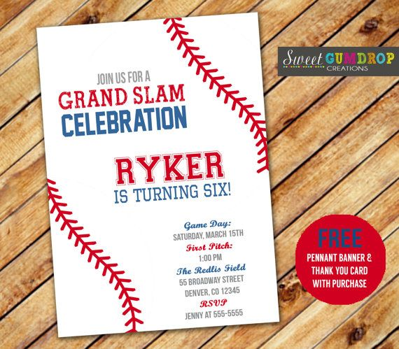 Baseball Style 2 Birthday Invitation Printable by ...