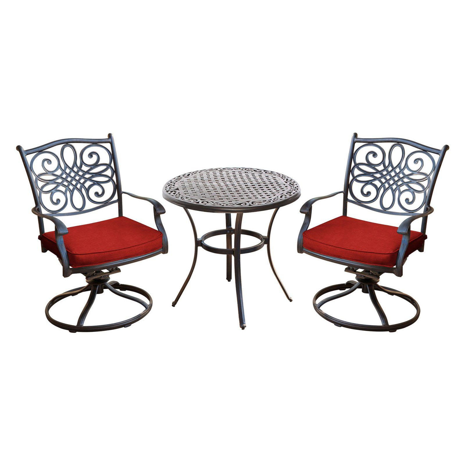 Peachy Hanover Traditions Aluminum 3 Piece Outdoor Swivel Bistro Caraccident5 Cool Chair Designs And Ideas Caraccident5Info
