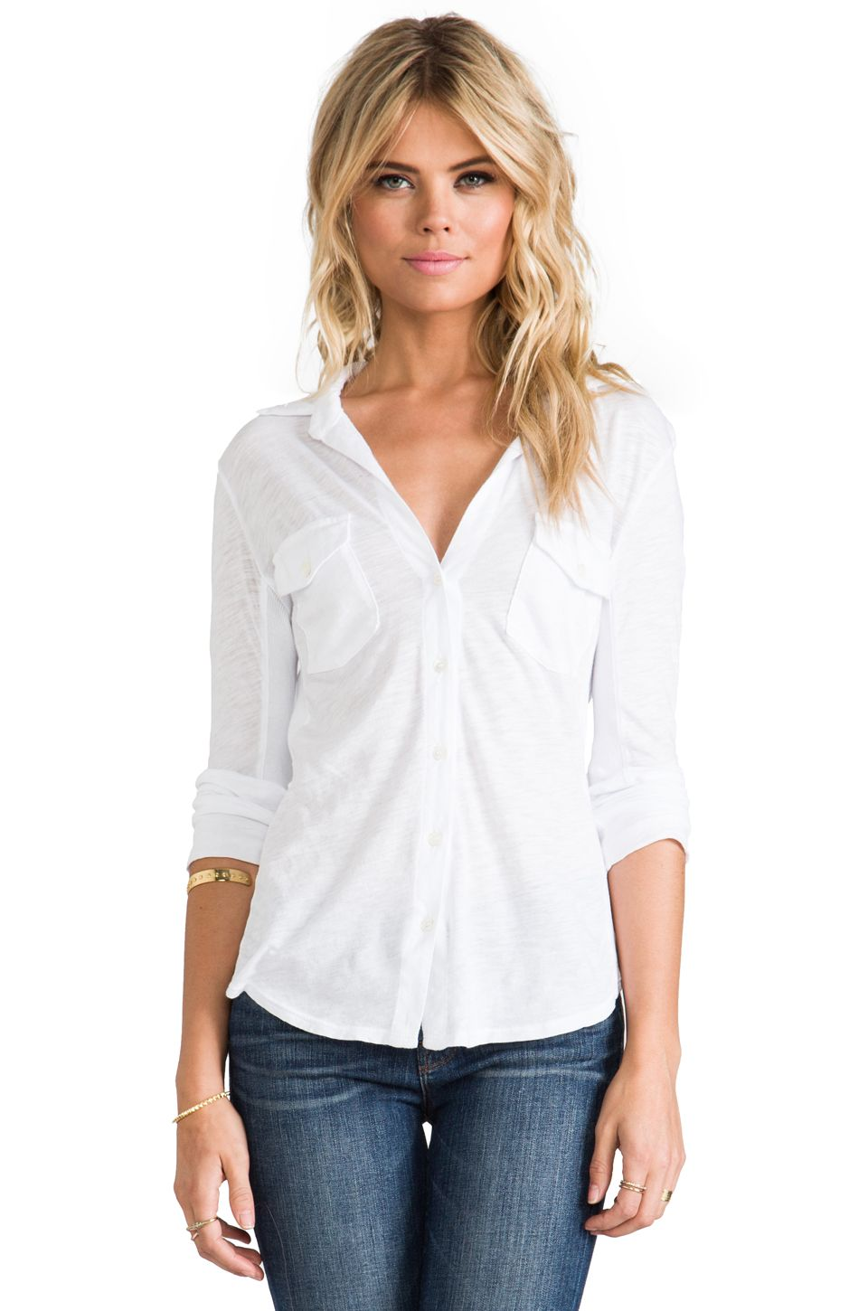 8d61e1af4 James Perse Slub Side Panel Button Front Shirt in White ...