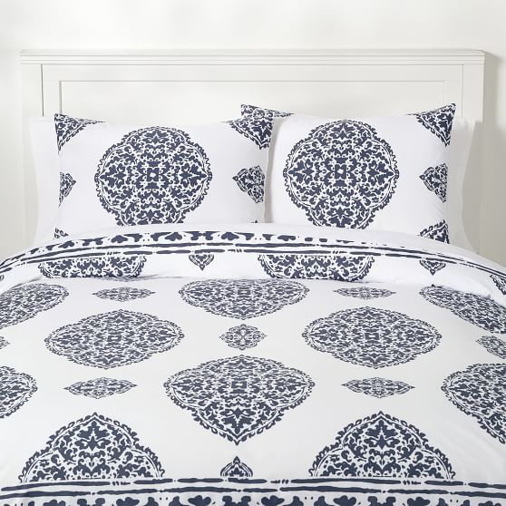 Aria Medallion Duvet Cover Twin Twin Xl Faded Navy