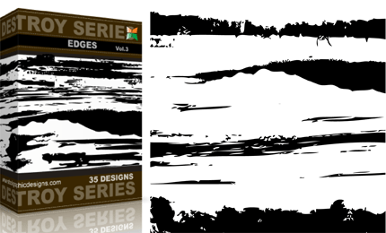 Grunge Destroyed Edges Vector and Photoshop Brush Pack - Vol.2 | StockGraphicDesigns
