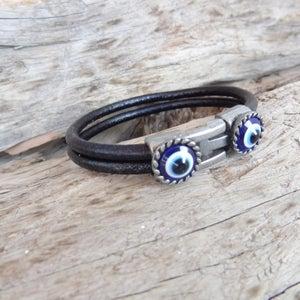 Black Leather Bracelet Gift for Him Men Leather Cuff Men/'s Evil Eye Bracelet Turkish Nazar Christmas Gifts Protection Bracelet