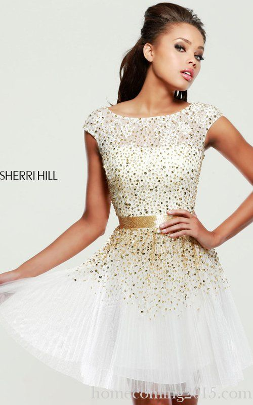 Ivory Sherri Hill 2840 Tulle Beads Party Dress Chic