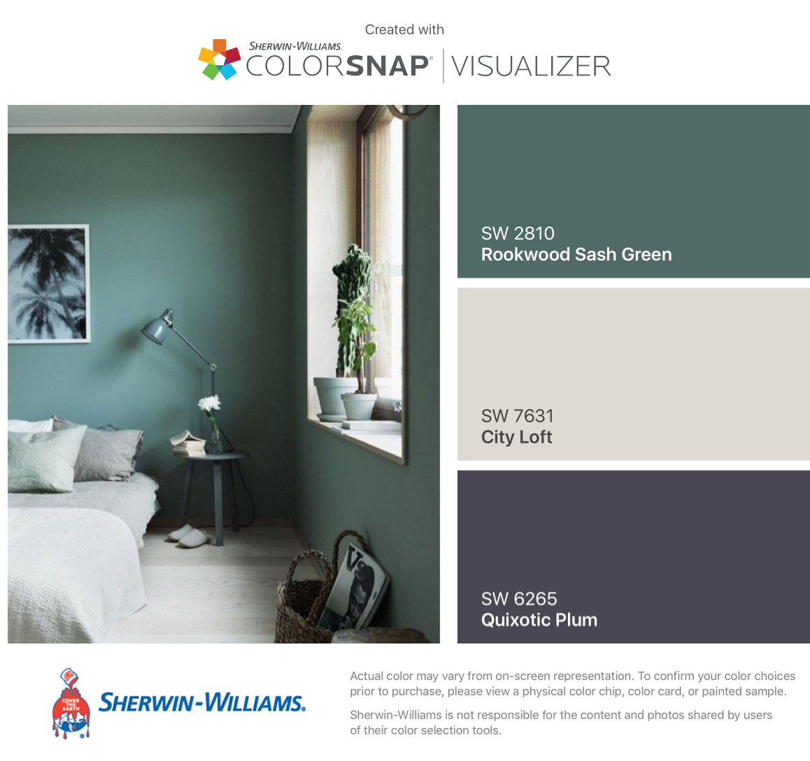 I found these colors with ColorSnap® Visualizer for iPhone by Sherwin-Williams: Rookwood Sash Green (SW 2810), City Loft (SW 7631), Quixotic Plum (SW 6265). #cityloftsherwinwilliams