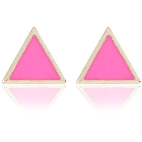 River Island Pink triangle stud earrings (12 PLN) ❤ liked on Polyvore
