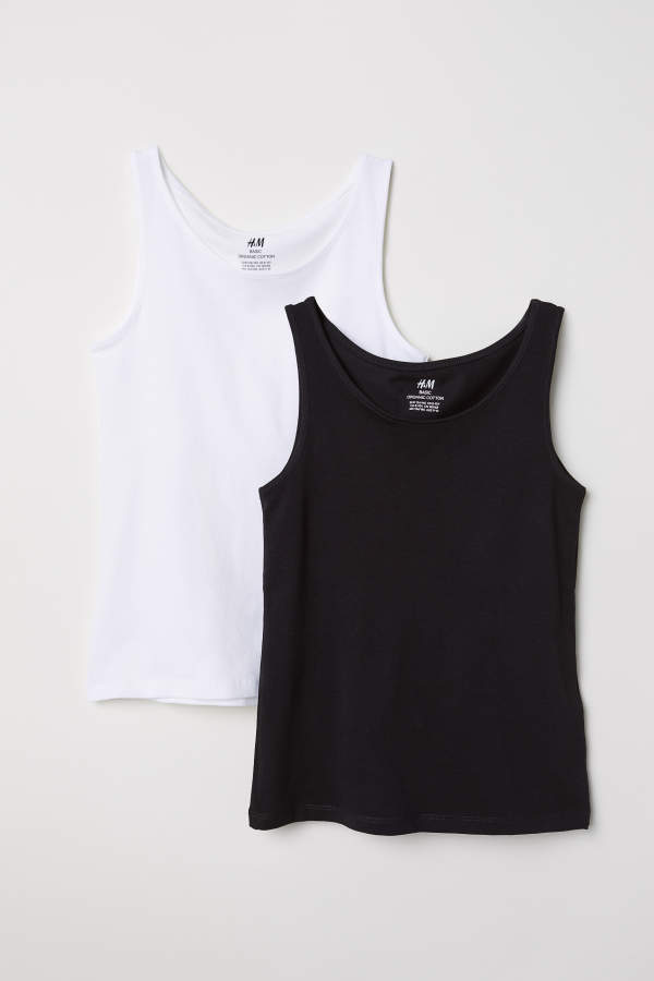 H M 2-pack Tank Tops - Black white - Kids  a9ec67e856