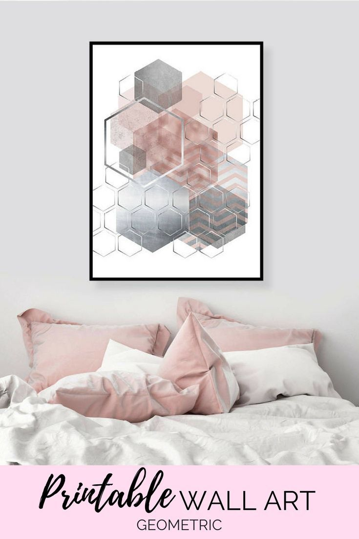 Printable wall art only pink and grey printable art