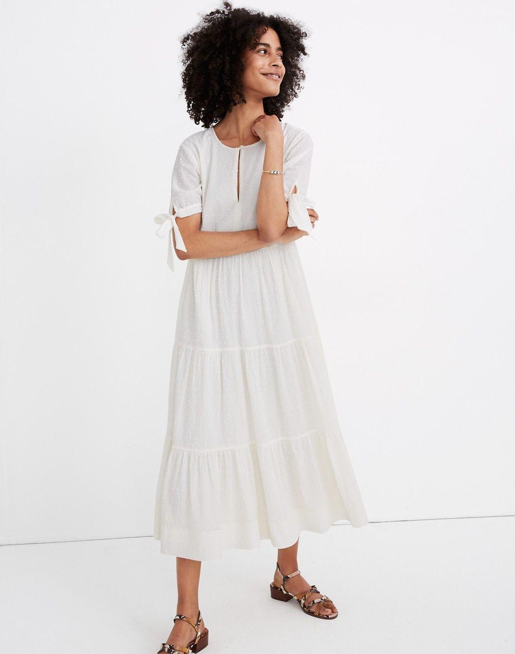 Petite Tie Sleeve Tiered Midi Dress In Swiss Dot In 2021 Tiered Midi Dress Midi Dress Dresses [ 1280 x 1007 Pixel ]