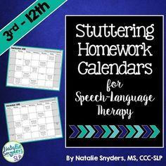Stuttering Homework Calendars For Slps  Homework Calendar