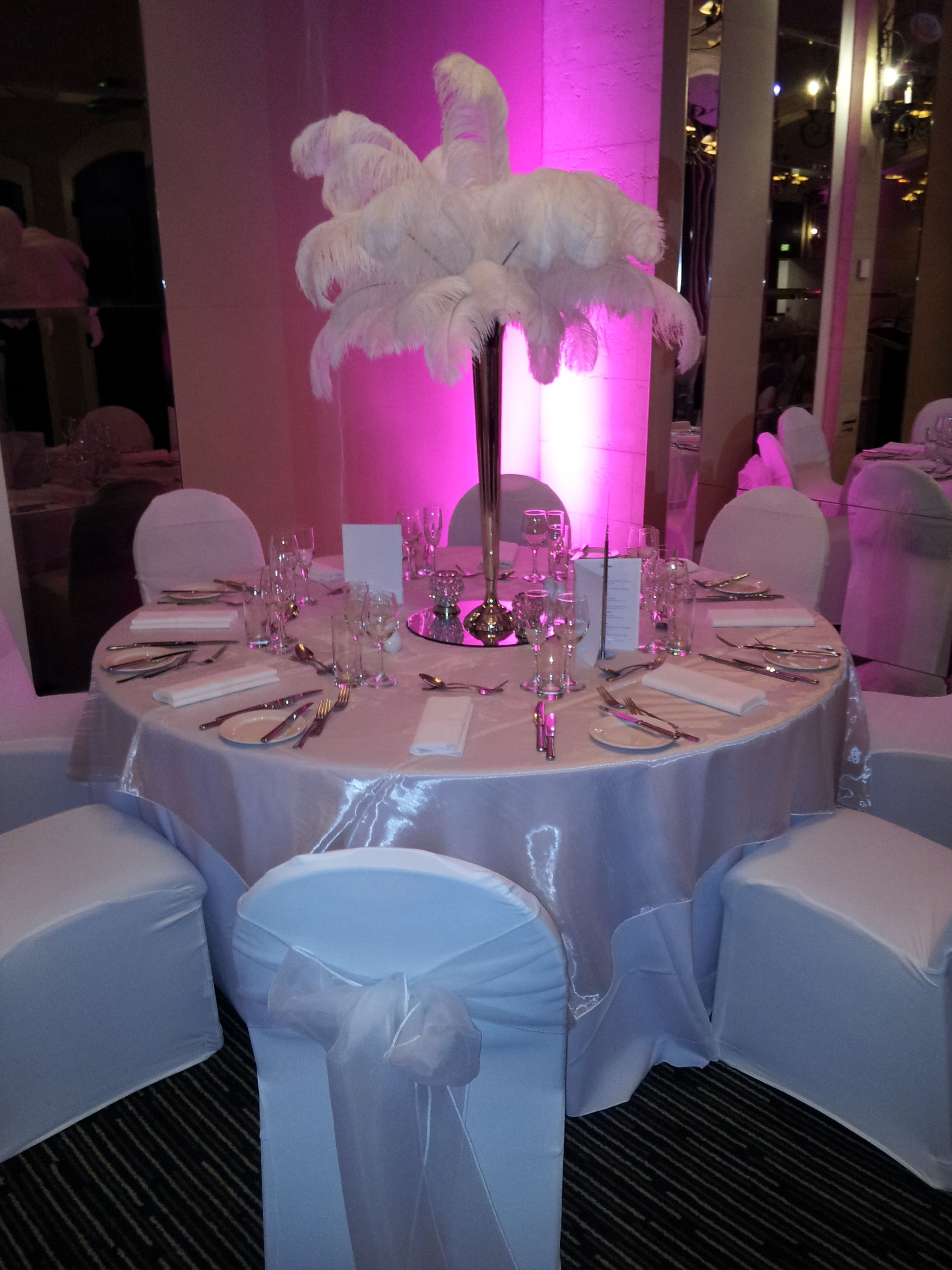 Inspired by the Great Gatsby! Wedding Centrepiece - Feather Centrepiece - Pink Uplights - Royce Hotel Melbourne Conference Venue - Melbourne Wedding Venue