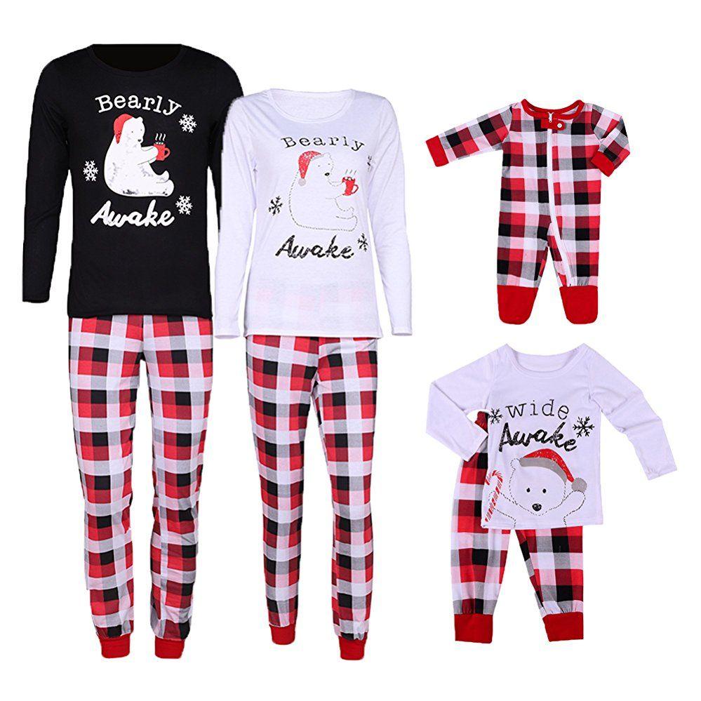 9691ccb44b77 Bearly Awake Letter Print Plaid Christmas Matching Pajamas Sets Sleepwear