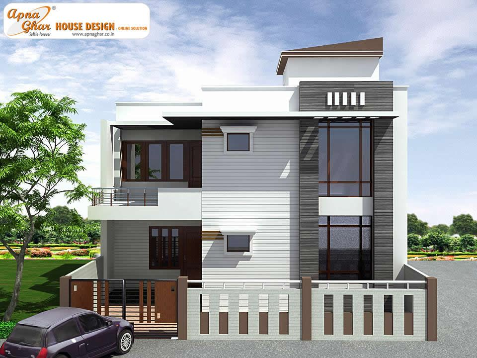 Pin by apnaghar on triplex house design pinterest for Contemporary indian house elevations