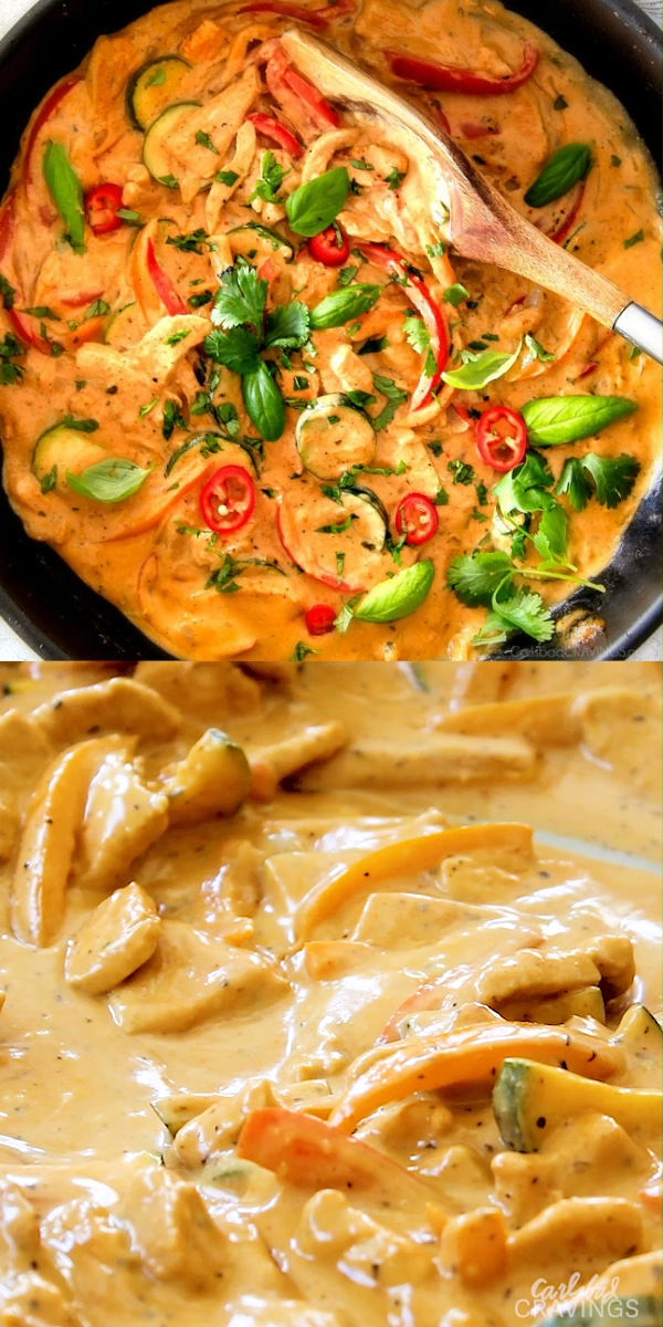 This less than 30 MINUTE Thai Red Curry Chicken tastes straight out of a restaurant! Its wonderfully creamy, bursting with flavor, so easy and all in one pot! Definitely a new fav at our house! #recipes #chicken  #dinner #dinnertime #easydinner #recipeoftheday #chickenrecipes #dinnerrecipes #dinnerrecipes #dinnerideas #dinnertime #curry #redcurry #chickencurry #30minutemeals #chickentika