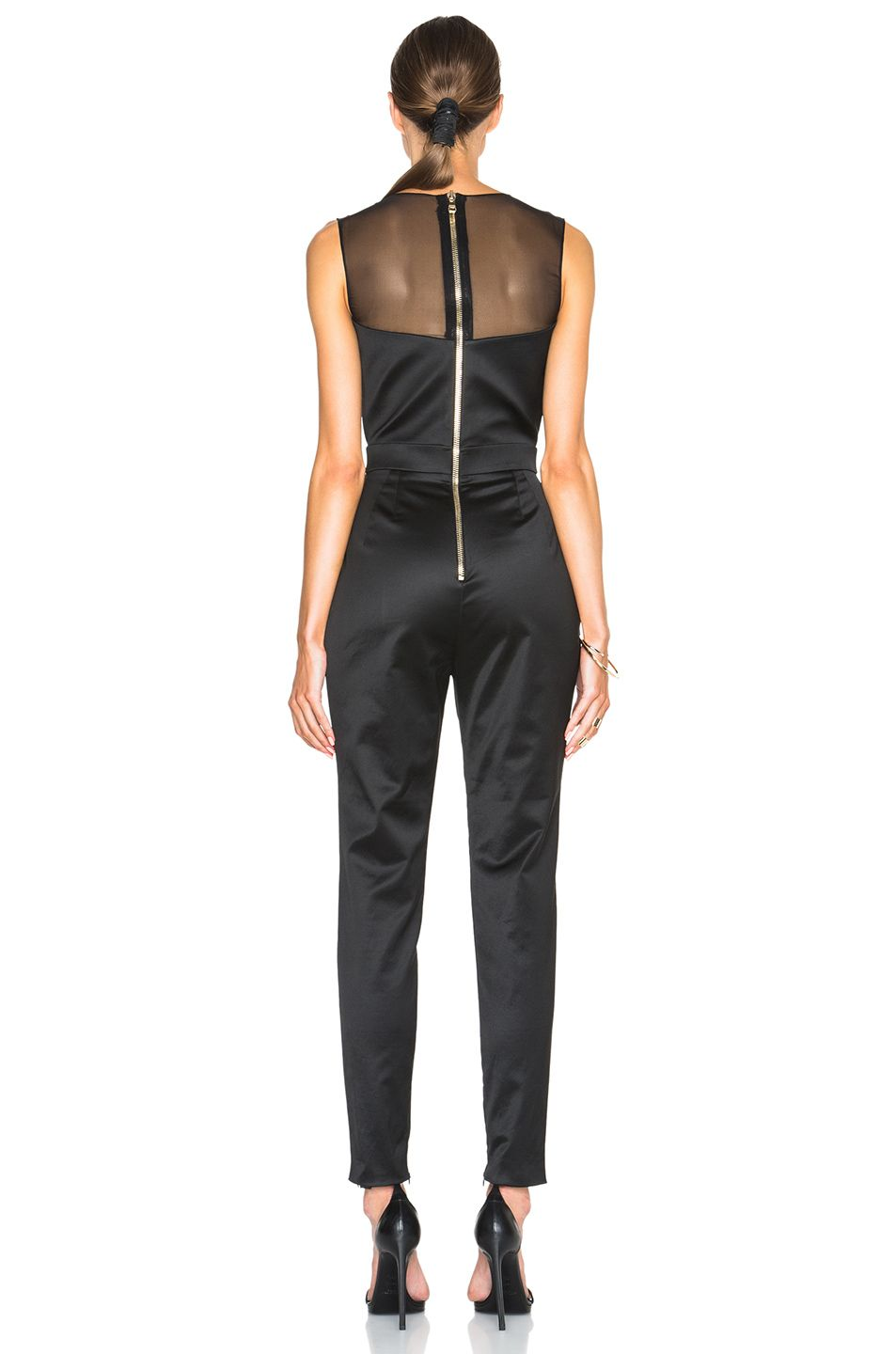 42af847818b Pierre Balmain Sheer V-Neck Jumpsuit in Black