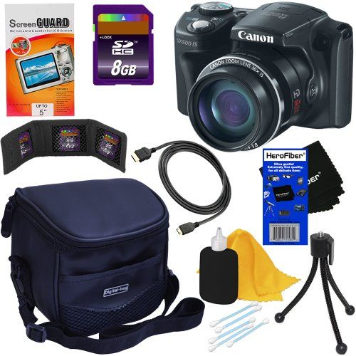 Canon Powershot Sx500 Is 16 0 Mp Digital Camera With 30x Optical Is Zoom Black 8pc Bundle 8gb List Price 329 99 Price 244 95