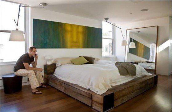 Open Floor Modern Rustic Bedroom Suite for Bachelor Bedroom Design ...