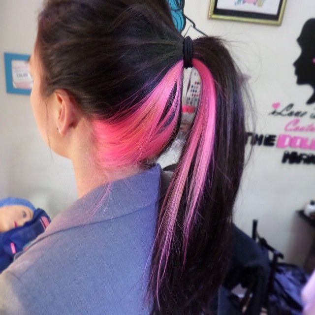 Black With Pink Underlayer Creative Hair Color Hair Color For Black Hair Hair Color Underneath