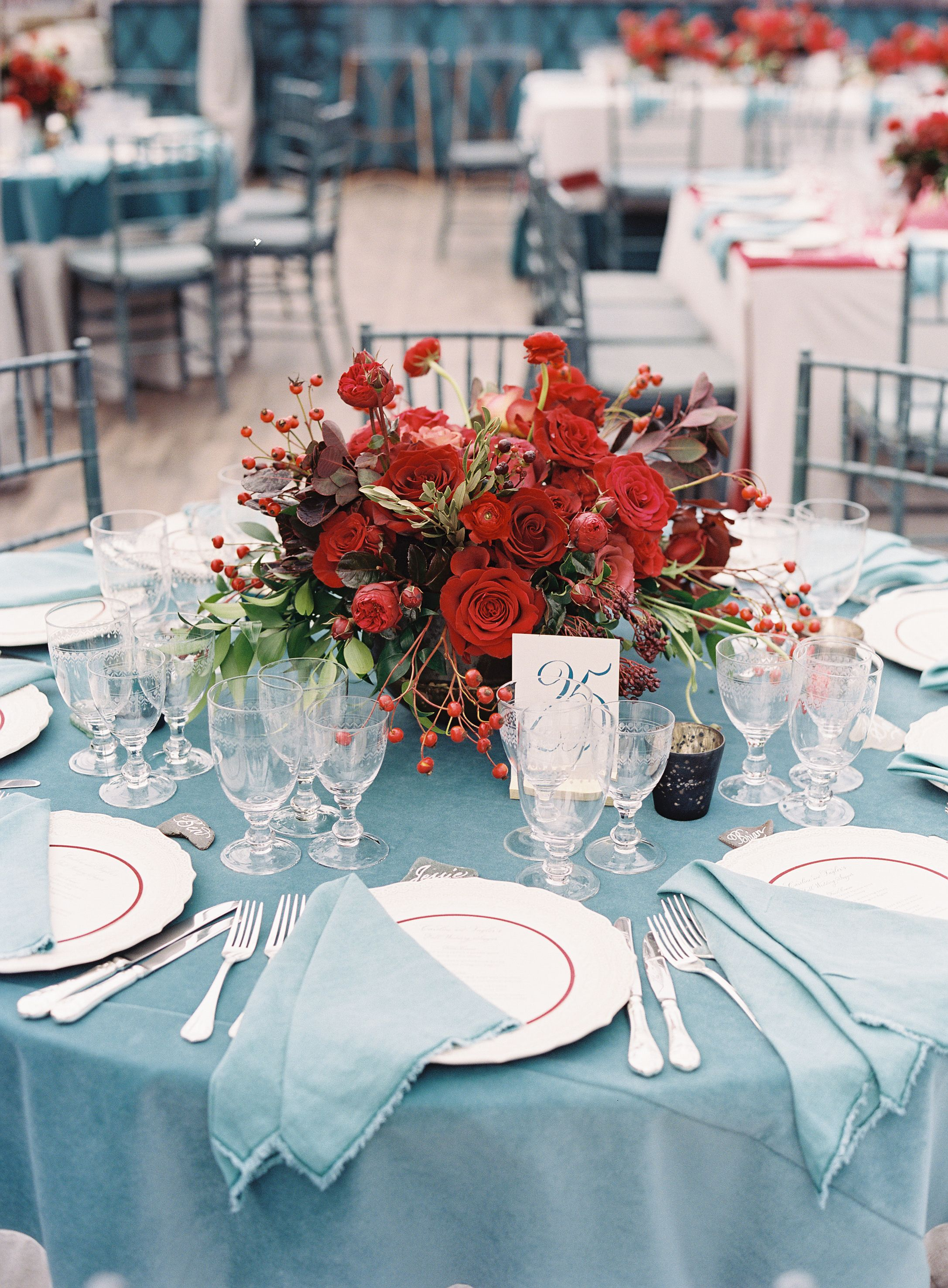 Putting A Gorgeous Twist On Classic Red White And Blue July Wedding Flowers July Wedding Winter Wedding Centerpieces
