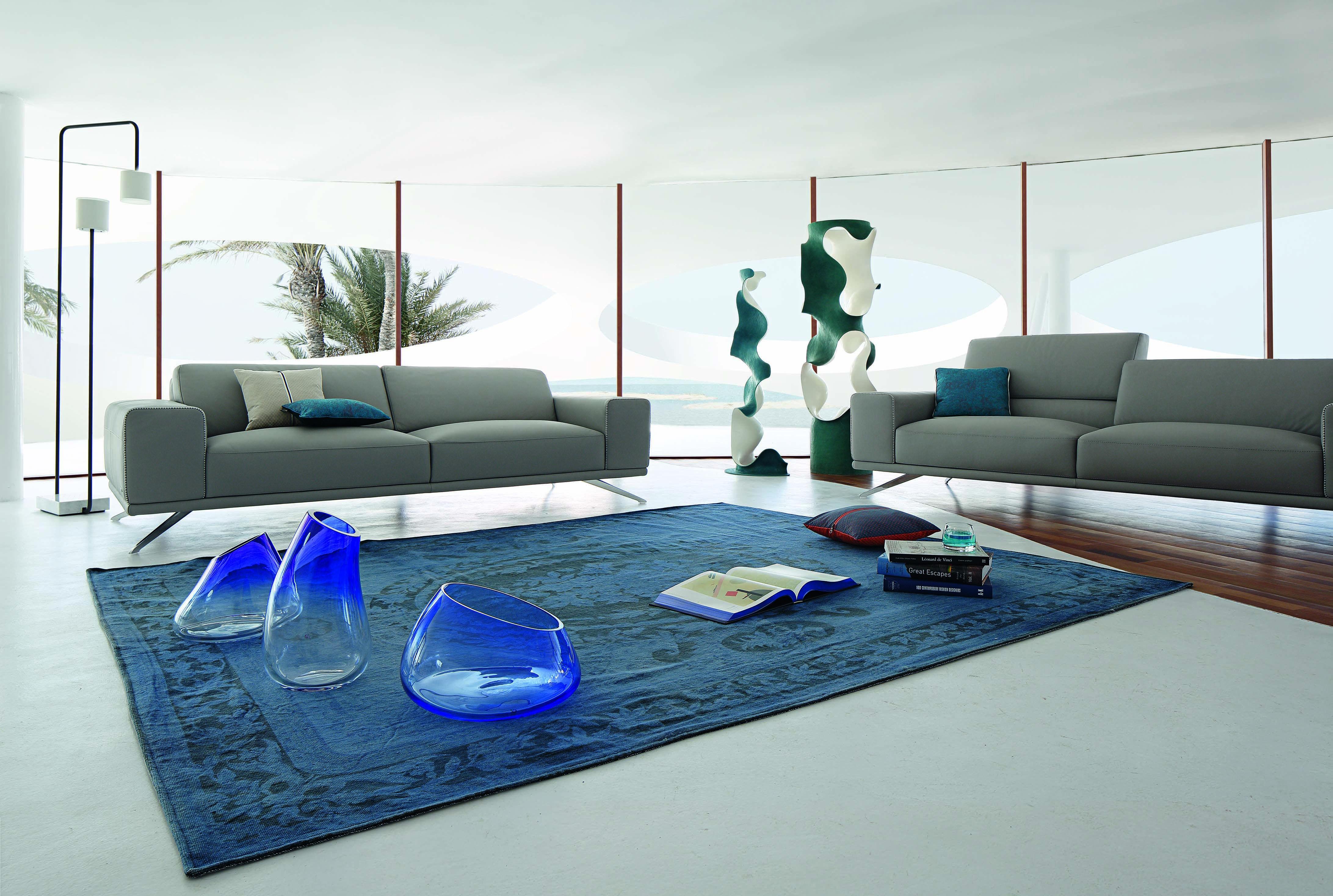 Roche Bobois Trello Sofa In Leather Design Sacha Lakic