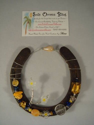 Western Beaded Rustic Hanging Horseshoe by SolisOccasusBling, $30.00
