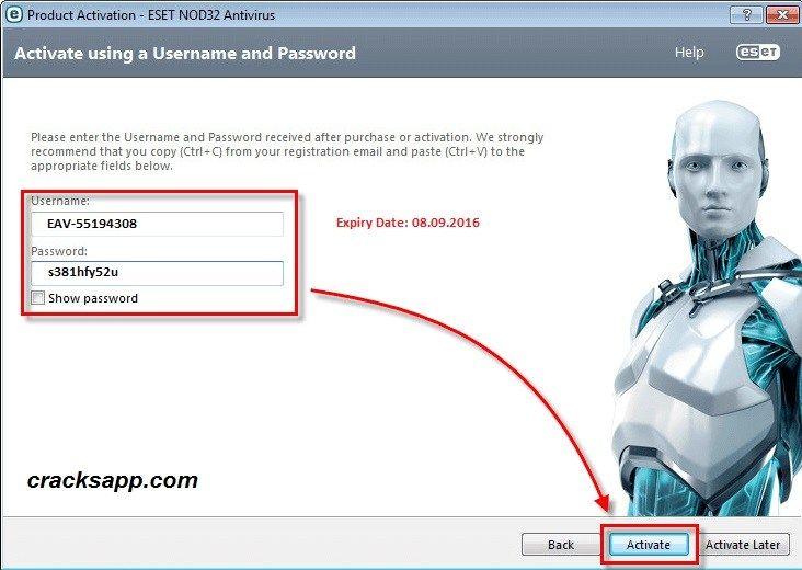 eset antivirus username and password