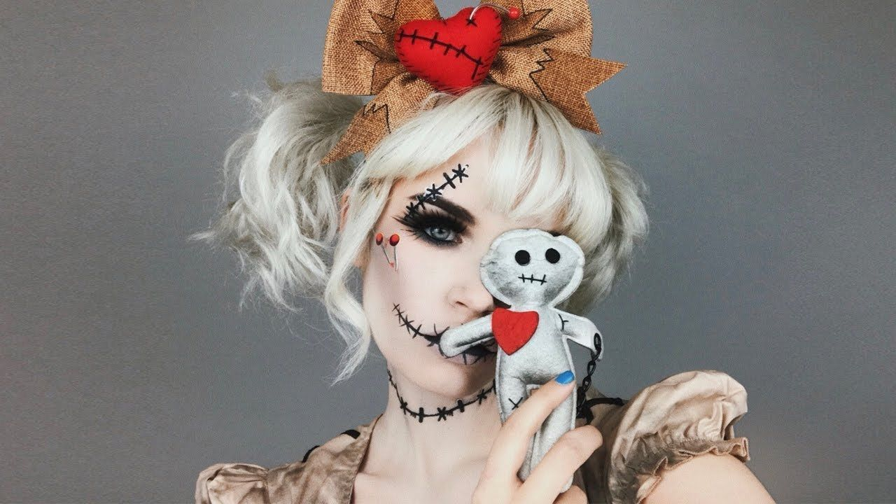 voodoo doll halloween makeup tutorial ft. spirit halloween