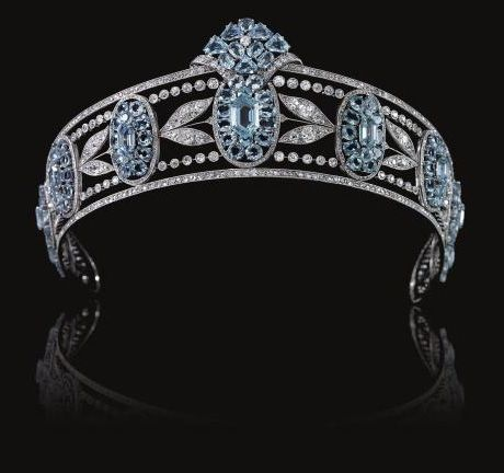 This aquamarine and diamond Belle Epoque tiara was part of the estate of Christian, Lady Hesketh. It has graduated aquamarine clusters interspersed with sprays of diamond myrtle leaves. Sale price: 97,504.